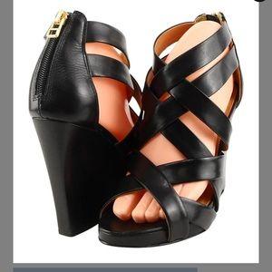 Pour de Victoire leather strappy wedge sandals